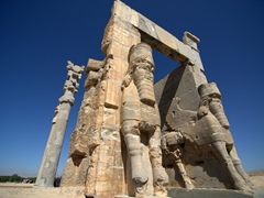 Two lamassu (Assyrian diety with a human's head, lion's body and bird's wings) at the Gate of All Nations; Persepolis