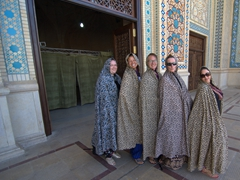 Gill, Becky, Helen, SCUBA Gill and Dya in their chadors; Shah-e-Cheragh Shrine