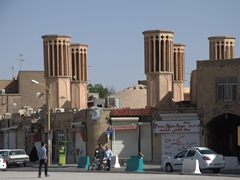 "Wind towers or ""badgirs"" are a common sight in the mud built city of Yazd"