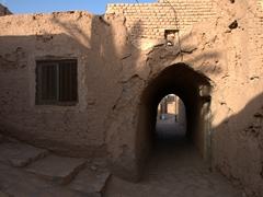 View of the mud brick village of Garmeh, an oasis in the desert