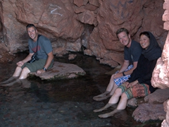 Robby, Lars and Ichi enjoying a natural fish pedicure at the Garmeh spring..be careful though, the fish can be quite aggressive when biting off excess skin!