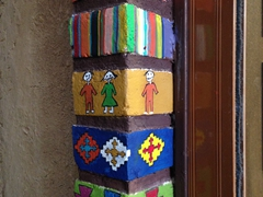 Colorful artwork on a store in the Yazd bazaar