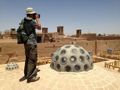 Robby taking photos of Yazd's skyline