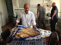 The owner of our Yazd hotel (Khane Mosafer) prepares bread for breakfast