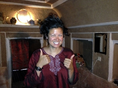 Becky shows off her scarf hair after finally being able to uncover in the privacy of our room in Garmeh