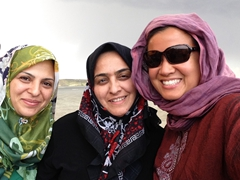 Posing with friendly Iranian women