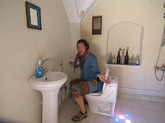 Becky demonstrates the impractical layout of the toilet in this bathroom