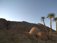 Palm trees are the only giveaway of a small spring in the desert; Garmeh
