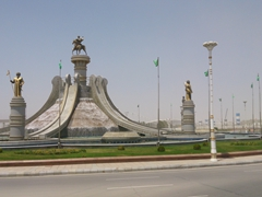 Ornate fountain on our drive out of Ashgabat towards Darvaza Gas Crater