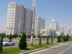 First view of Ashgabat, the city of white marble