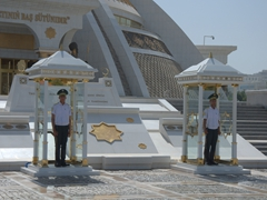 Guards at the Independence Monument in Ashgabat