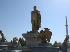 Golden statue of Turkmenistan's long running dictator, late president Niyazov