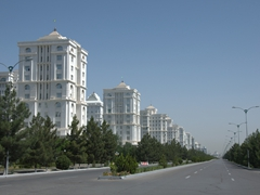 A twilight zone moment...massive streets and not a single pedestrian or vehicle in sight in the center of Ashgabat!