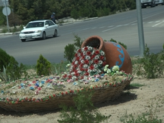 Flower pot display at a roundabout in Ashgabat