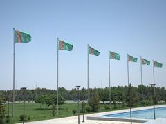 Turkmenistan flags outside Türkmenbaşy Ruhy Mosque