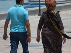 Two Turkmen visitors to Türkmenbaşy Ruhy Mosque