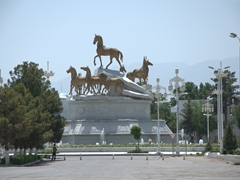 Akhal-Teke horse monument in the Ten Years of Independence Park; Ashgabat