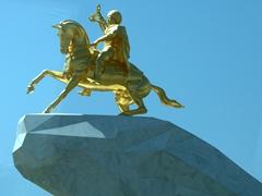 Gold statue of Turkmenistan's President Gurbanguly Berdymukhamedov