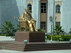 Seated gold statue of Saparmurat Niyazov, former president for life of Turkmenistan