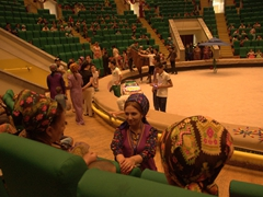 Turkmen women wearing fancy headdresses at the State Circus