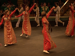 Beautifully clad Turkmen dancers close out the show; State Circus