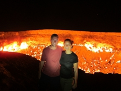 "Posing at Darvaza Gas Crater, the ""door to hell"""