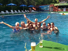 Connie, SCUBA Gill, Becky, Denise, Robby, Helen, Gill, Ichi and Anthony at the swimming pool of Ak Altyn Hotel; Ashgabat