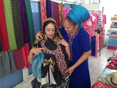 Dya shopping for a local Turkmen outfit