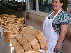 Bread seller; Nukus Bazaar