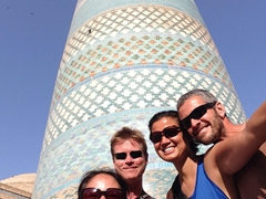 Posing with Ichi and Lars at the Kalta Minor minaret