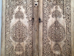 Carved wooden door at the Museum of Applied Arts; Islom-Hoja Medressa