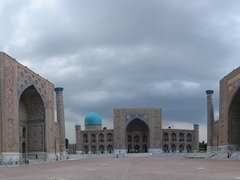 Panoramic view of the Registan, Central Asia's prettiest square; Samarkand