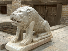 Lion statue at the Ark Citadel; Bukhara