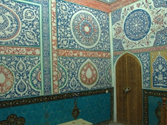 Colorful painted interior of a mausoleum at Shah-I-Zinda