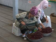 Cherry vendors; Chorsu Bazaar