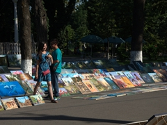 Artwork for sale on the streets of Tashkent (near Timur's Statue)