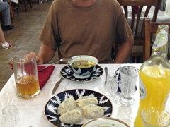 Robby enjoying our meal at Chinar restaurant in Bukhara (fantastic plov and manti)