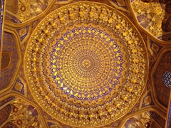 Gold leaf ceiling dome of Tilla-Kari Medressa; Registan