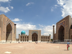 Our parting view of pretty Samarkand and its lovely Registan