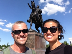 In front of Tamerlane's statue in Tashkent