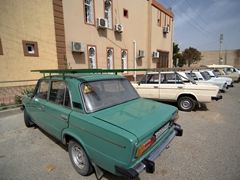 Parking lot full of Lada cars