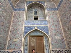 Becky standing at Abdulla Khan Medressa; Bukhara