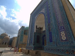 View of the beautifully tiled mausoleums at Shah-I-Zinda