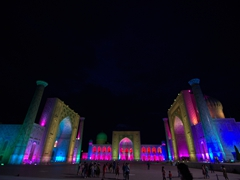 Another view of the Registan during the sound and light show; Samarkand