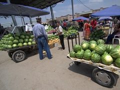 Watermelons for sale; Samarkand bazaar