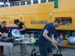Gill, Becky and Ben whip up some tuna pasta after our hellishly long (9+ hours) border crossing ordeal