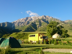 Our scenic campsite at the Aksu-Zhabagly Nature Reserve