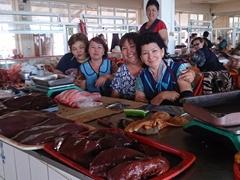 Friendly meat vendors; Taraz Bazaar