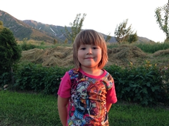 A cute Kazakh girl at our campsite