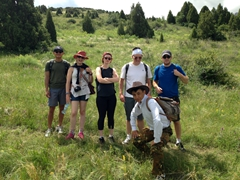 Michael, Tina, Kate, Chris and Ben with their park ranger; Aksu-Zhabagly Nature Reserve